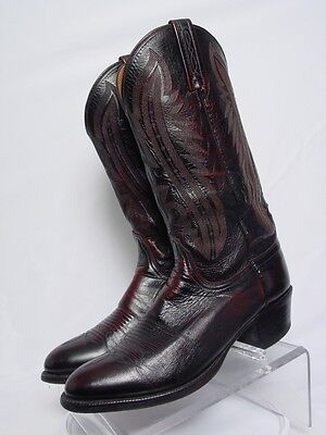USA LUCCHESE 2000 Men 9-D Black Cherry Leather Western Horse Cowboy Boots