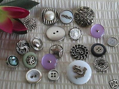 ~*~ 20 x Mixed Vintage Silver Tone buttons ~*~ Scrapbooking, Craft, Sewing  * #