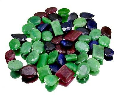 425ct / 52pcs Natural Emerald Sapphire Ruby UK Ring Size Gemstone Wholesale Lot