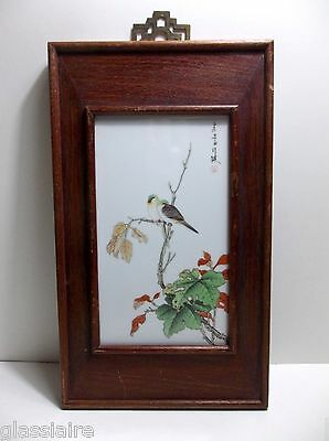 Antique Chinese Porcelain Tile Plaque BIRDS Flowers SIGNED Rosewood Frame