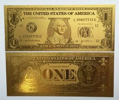 Beautiful Detail .999 24kt Gold US $1 One Dollar Bill Banknote + Sleeve Included