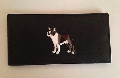 Boston Terrier Dog Leather Checkbook Cover