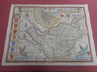 100% Original Large Cheshire Map By John Speed C1676 Vgc Hand Coloured