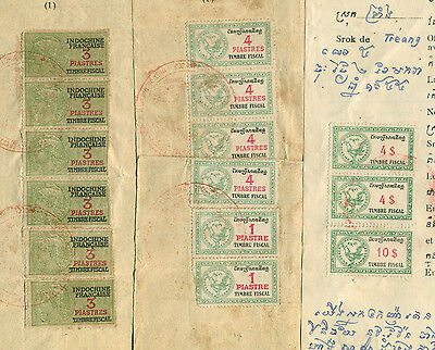 Cambodia Indochine Revenue with different Denomination in 1955 on 3 Document