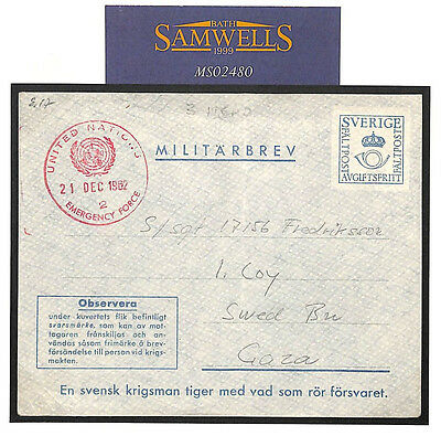 MS2480 1962 PALESTINE Sweden Forces *Miltarbrev* UNITED NATIONS Emergency PEACE