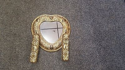 Vintage Decorative Brass Mirror & Brushes