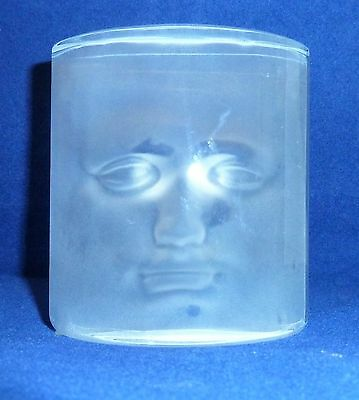 Vintage French Daum Glass Sculpture / Paperweight, Mask / Face, Signed Roy Adzak