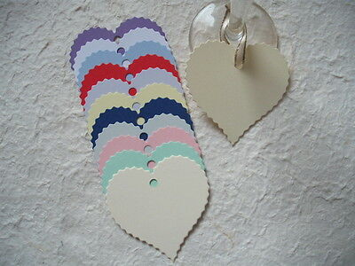 20 Heart shaped serated edge tags toppers wedding wishing tree place cards gifts