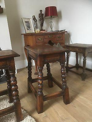 Pair of Antique Oak Charles 1 revival Joint Coffin Stools