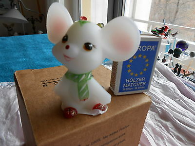 Holly, The Little Christmas Mouse - FENTON GLASS - Milk Glass NEW in BOX - CUTE!
