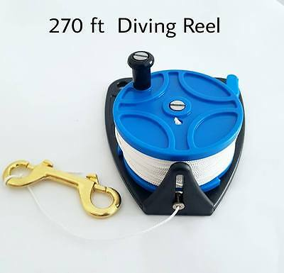 Scuba Diving Ratchet Reel 270ft / 83m with Brass Snap Bolt