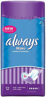 3 X Always Maxi Long Super Plus 12 Sanitary Pads/Towels with Wings- 36 pads