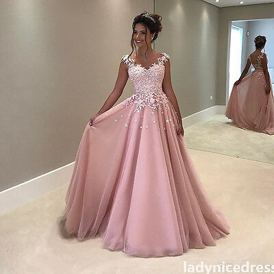 Elegant Pink Lace Appliques Tulle Celebrity Pageant Formal Gown Prom Party Dress