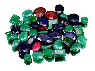 450ct / 45pcs Natural Emerald Sapphire Ruby UK Ring Size Gemstone Wholesale Lot