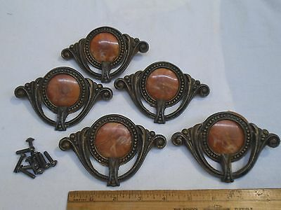 5 Antique Ornate Victorian DRAWER PULLS Handle w/ CELLULOID Inserts
