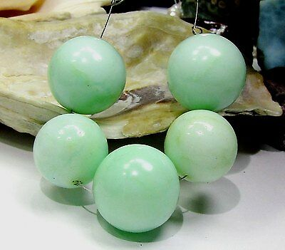 5 NATURAL UNTREATED APPLE GREEN  AUSTRALIAN  CHRYSOPRASE ROUND BEADS 16mm 18mm