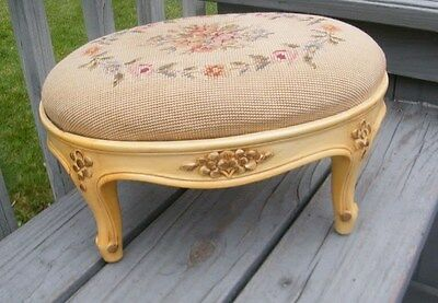 Antique Mid Century Carved Blonde Danish Wood Stool Bench Needlepoint Seat Eames