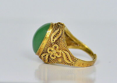 Ring Silber, Jade-Cabochon,florale filigranarbeit China, old china