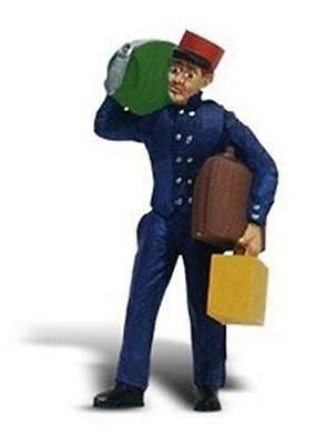 Woodland Scenics A2527 G scale baggage Porter figure w/luggage Red Cap Scenic Ac