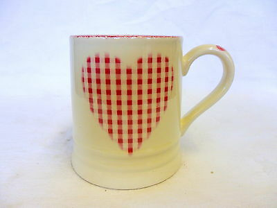 Valentine pink gingham heart tankard mug by Heron Cross Pottery