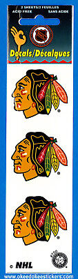 Chicago Blackhawks (Pack of 2 sheets) NHL Logo Okee Dokee Sticker Decals