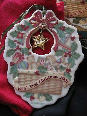 NEW Longaberger 2001 BABY'S FIRST CHRISTMAS Pottery ORNAMENT w/ Hanging STAR