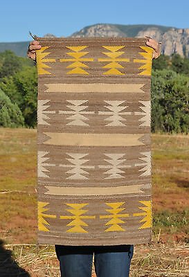 """Old Vintage Navajo Indian Runner Rug - Varigated Tans White Yellow - 35"""" X 20"""""""