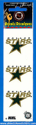 Dallas Stars (Pack of 2 sheets) NHL Logo Okee Dokee Sticker Decals
