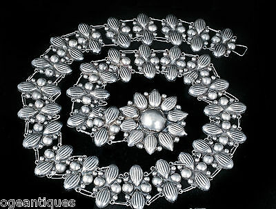 Taxco Deco silver repousse Belt big sunflower buckle vintage Mexican sterling