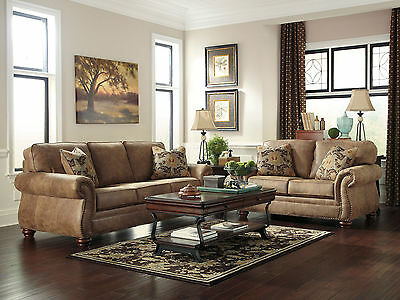 VALENTINE - Traditional Rustic Microfiber Sofa Couch Set Living Room Furniture