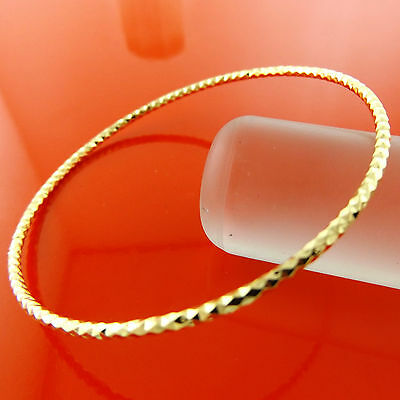 A888 Genuine Real 18K Yellow G/f Gold Ladies Antique Cuff Bangle Bracelet 70Mm