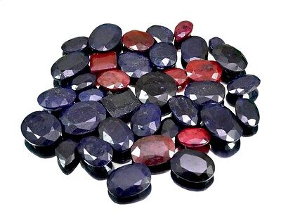 555ct / 36pcs Natural Sapphire Ruby Ring Size Uk Gemstone Wholesale Lot