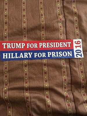 Trump For President Hillary For Prison 2016 Bumper Sticker