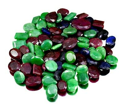 690ct / 77pcs Natural Emerald Ruby Sapphire UK Ring Size Gemstone Wholesale Lot