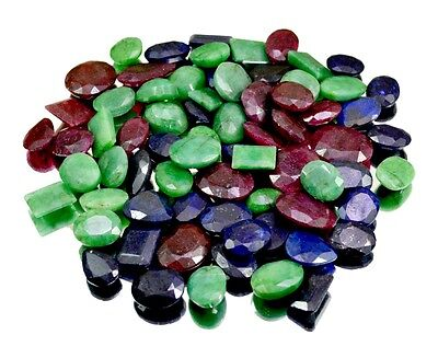 630ct / 72pcs Natural Emerald Ruby Sapphire UK Ring Size Gemstone Wholesale Lot