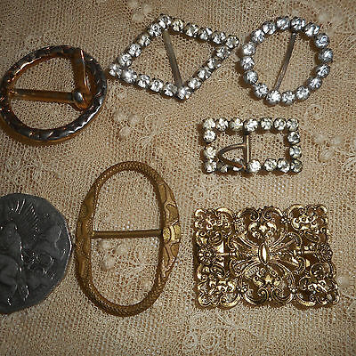 6 antique & vintage belt buckles; Elegant Bling; 3 gold colour; 3 sparkly stones