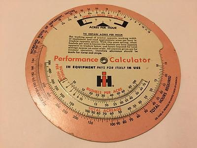 Old IH International Harvester Performance Calculator Advertising Dial