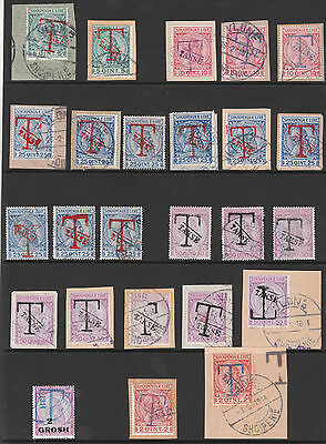 ALBANIA 1914 T TAKSE TAX POSTAGE DUE USED STAMPS incl VARIETY INVERTED OPT's