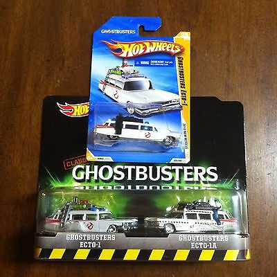 Hot Wheels New Models Ecto-1 & Retro Ecto-1A Lot Of 3 Ghostbusters 1 Mil Bill