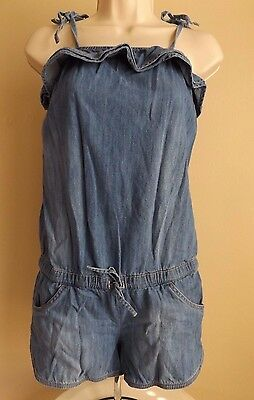 JUSTICE Tween Girls Size 14 Chambray Denim Shoulder Ties Ruffle Romper