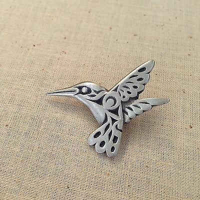 Canadian Pacific Native PEWTER HUMMINGBIRD BROOCH by Frederick Design, Canada BC