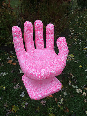 "GIANT Granite Pink & White HAND SHAPED CHAIR 32"" adult 70s Retro iCarly NEW"