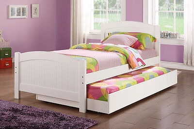 White Finish Wood Twin Size Bed w/ Twin Under Bed Trundle