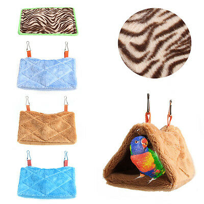 Parrot Plush Hammock Hanging Cage Cave Snuggle Soft Hut Tent Bed Bunk Bird Pad