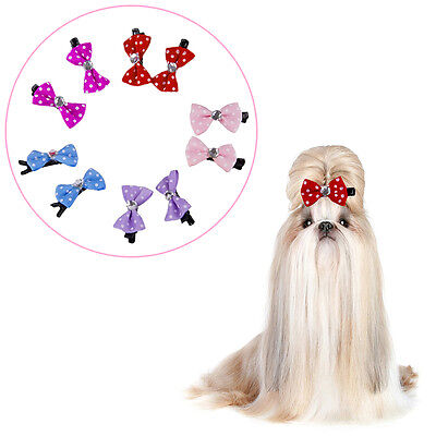 10PCS Colorful Pet Cat Dog Grooming Hair Bows Hair Clips Hairpins Accessories