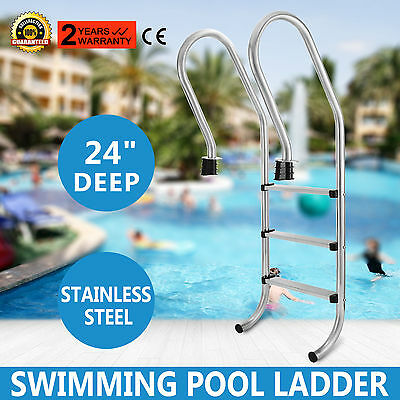 Inground Swimming Pool Ladder 3 Steps 24 Inch Deep Slip Resistant Replacement