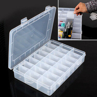 24 Slots Plastic Compartment Jewelry Pill Beads Storage Container Screws Box