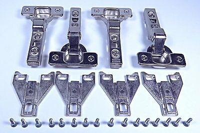 "4 European Hinges, ¼"" overlay, Frameless Cabinet Door New with plates and screws"