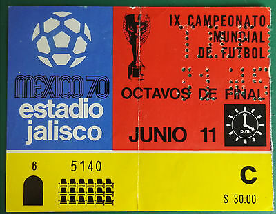 1970 WORLD CUP MEXICO USED MATCH TICKET. ENGLAND vs. CZECH  ESTADIO JALISCO 5140