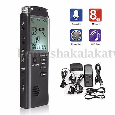 8GB Rechargeable Digital LCD Audio Voice Sound Recorder Dictaphone MP3 Player